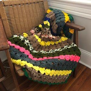 Vintage multicolor hand crocheted afghan blanket